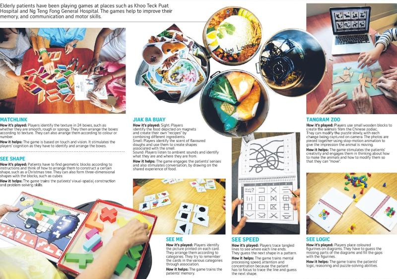 A myriad of games featuring witty names, attractive visuals and texture to give a boost to the brain power among our elderly patients. Photo credit: Chew Seng Kim, Sue-Ann Tan, Gin Tay/The Straits Times