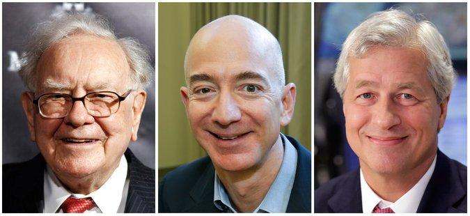 From left: CEO of Berkshire Hathaway Warren Buffett, founder and CEO of Amazon Jeff Bezos, Chairman and CEO of JPMorgan Chase Jamie Dimon. Photo credit: Associated Press
